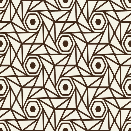 Monochrome seamless white black pattern with heagons and triangles in the style of geometric  mosaic vector illustration