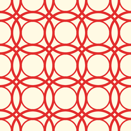 Borderless white red pattern with identical rounds, red lines and oval shapes.