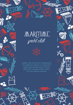 Vierkant jachtclubposter verdeeld over twee delen waar er de naam is van jachtclub en vele maritieme elementen zoals coquille, zeewier, stenen op de donkerblauwe achtergrond als overzeese vectorillustratie.