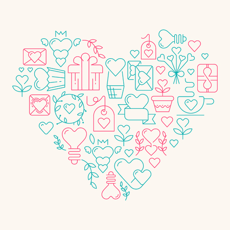 Love poster template in the gigantic heart with many beautiful images symbolizing valentines day hand drawing doodles elements on the white background vector illustration.