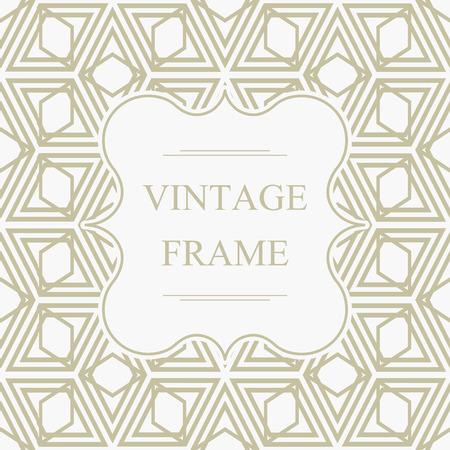 Abstract elegant vintage frame template on light geometric rhombus seamless pattern in kaleidoscope style vector illustration.  イラスト・ベクター素材