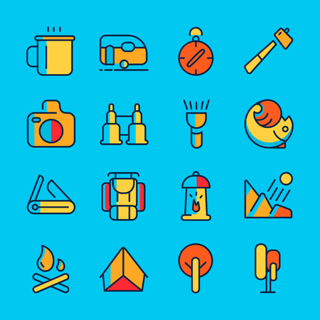 Camping and adventure line icon set with sixteen colourful objects such as binocular, compass, tent hand drawing vector illustration.