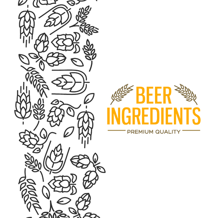 Stylish design card with images to the left of the yellow text beer ingredients of flowers, twig of hops, blossom, malt vector illustration.