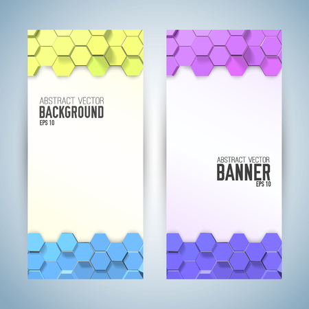 Vertical abstract banners with 3d ornaments from colorful hexagons on white background isolated vector illustration Illusztráció