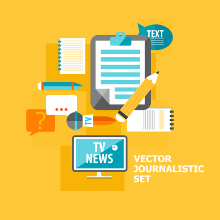 Reporter flat elements set with different correspondent equipment on light orange background vector illustration.