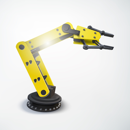 Industrial engineering colorful concept with realistic robotic mechanical arm on light background isolated vector illustration.
