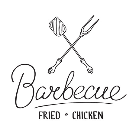 Monochrome typographical light template with calligraphic inscription and crossed barbecue tools isolated vector illustration.