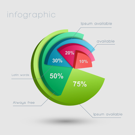 Abstract business pie chart infographics with five options and percent rates on light background isolated vector illustration.