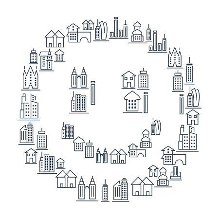 Municipal and living buildings icons set in lined style in smile shape on white background isolated vector illustration. 向量圖像