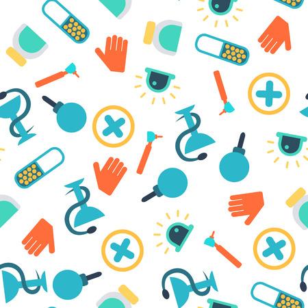 Medizin helle nahtlose Muster mit bunten flachen medizinischen Geräten und Tools Vektor-Illustration Standard-Bild - 92621475
