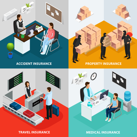 Isometric insurance case concept.