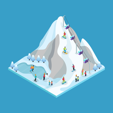 Isometric winter leisure activity concept.