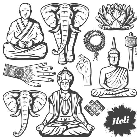 Los elementos de la religión del budismo de la vendimia fijaron la ilustración. Foto de archivo - 92647750