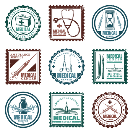 Vintage colored medical stamps set illustration.
