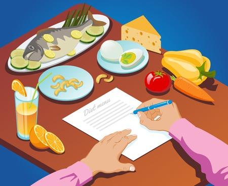 アイソメ適切な栄養コンセプト図。  イラスト・ベクター素材