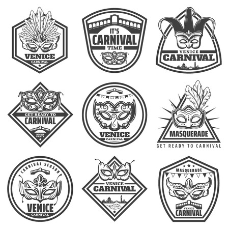 Vintage monochrome mask labels set illustration. Stock Vector - 92647754