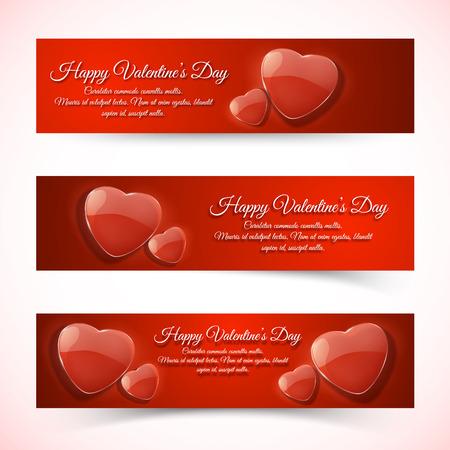 Horizontal romantic Valentines day banners vector illustration