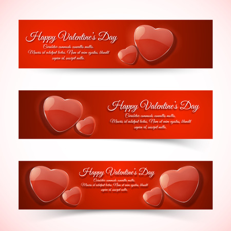 Horizontal romantic Valentines day banners vector illustration