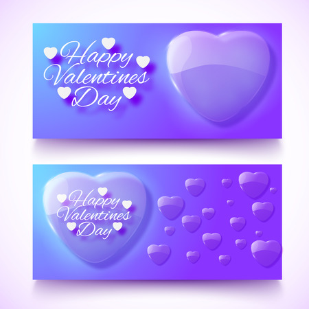 Flat design horizontal violet color valentines day banners set with hearts isolated vector illustration Illustration