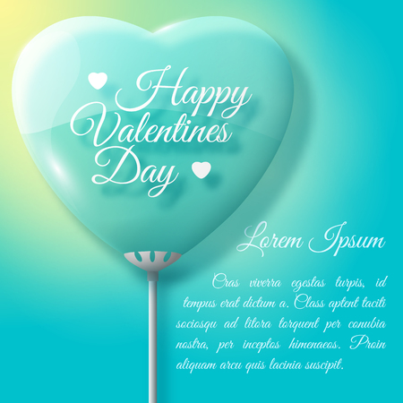 Flat pastel color happy valentines day background with big heart balloon and text field vector illustration