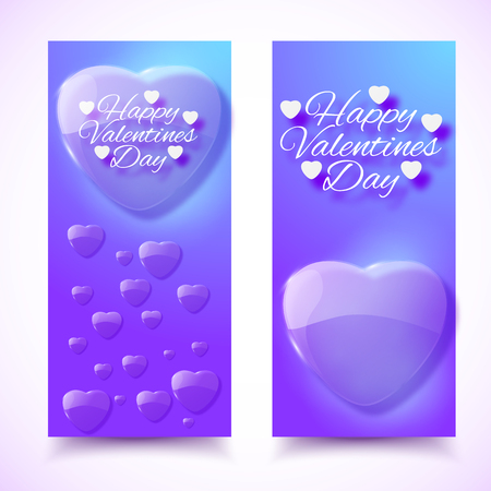 Violet color vertical Valentines day banners with hearts set flat vector illustration