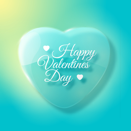 Pastel color Valentines day design with big heart and text field flat vector illustration