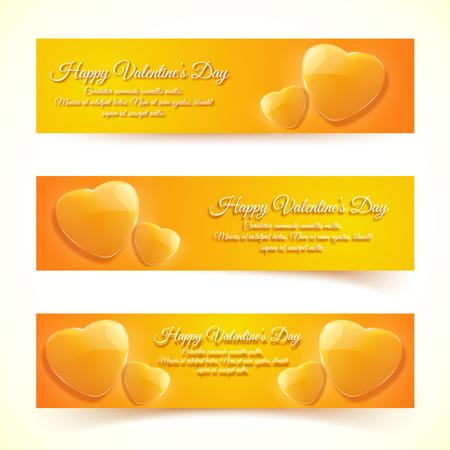 Valentines Day Banners Illusztráció