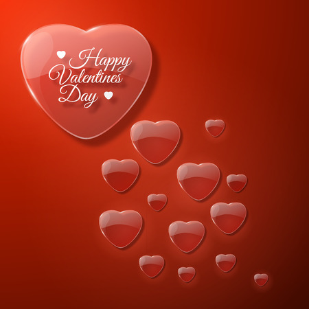 Red romantic Valentines day with big and small hearts flat vector illustration Ilustração