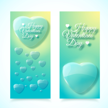 Vertical romantic hearts valentines day banners set in pastel colors isolated on white background flat vector illustration