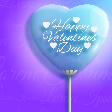 Happy valentines day background in violet color with big heart balloon flat vector illustration