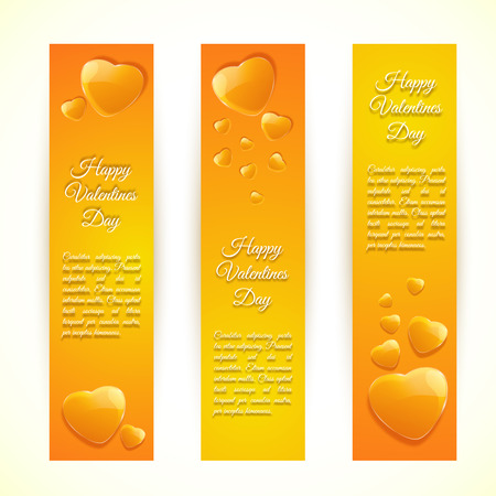 Three vertical bright valentines day banners set with orange hearts flat isolated vector illustration.