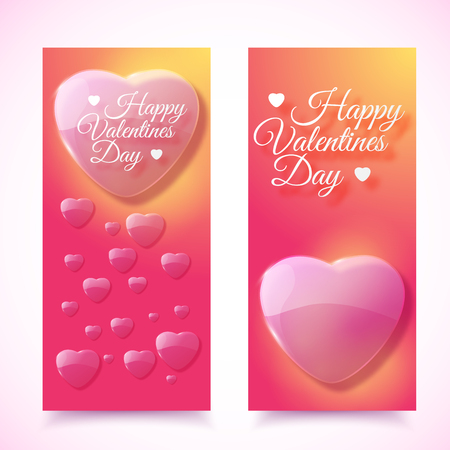 Vertical valentines day romantic banners with pink hearts set flat isolated on white background vector illustration.