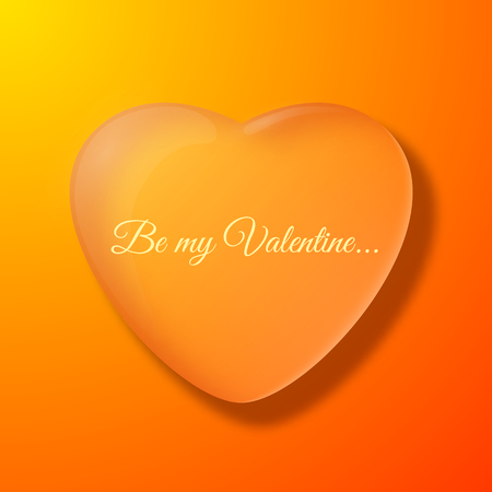 Valentines day orange background with big heart silhouette flat vector illustration