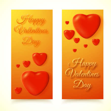 Set of two isolated vertical banners with happy valentines day written style congratulatory message and red hearts  illustration.