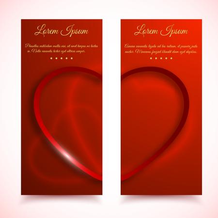 献身テキストベクトルイラスト付き赤いハートラブサインの半分を持つ2枚の縦のバレンタインデーカードのセット