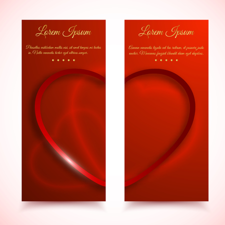 두 개의 수직 발렌타인 데이 카드 세트 붉은 심장 헌신 텍스트 벡터 일러스트와 함께 붉은 마음 사랑의 절반