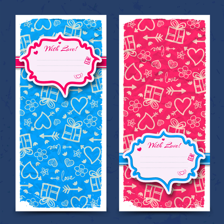 Valentines day vertical banners with greeting sticker on crumpled paper hand drawn icons background isolated vector illustration