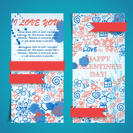 Lovely vertical banners with text ink stains ribbons hand drawn elements on paper sheet isolated vector illustration Banco de Imagens - 92716473