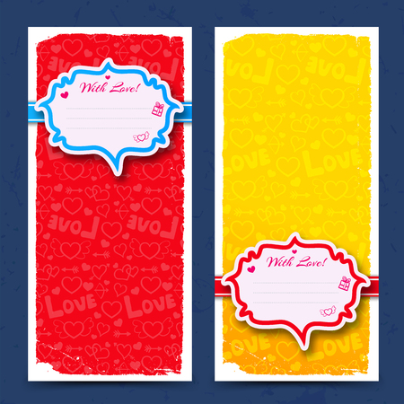 Romantic vertical banners in yellow and red colors with stickers on icons background isolated vector illustration