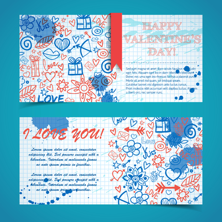 Romantic horizontal banners with greeting text ink stains ribbon sketch elements on paper note isolated vector illustration