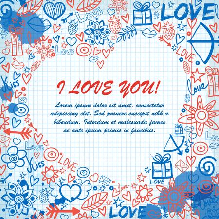 Valentinstagschablone mit Textliebes-Geständnistinte befleckt Hand gezeichnete Elemente auf Papieranmerkungsvektorillustration.