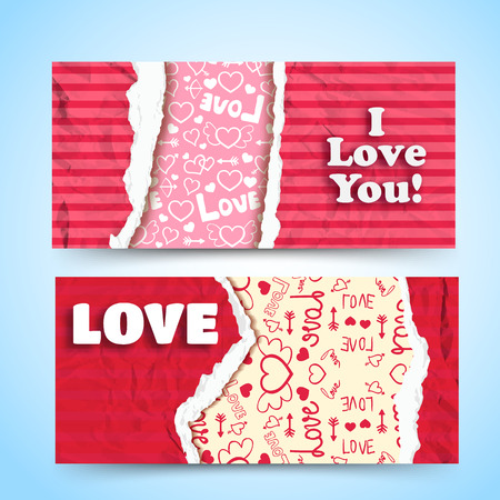 Valentines day horizontal banners with colorful ragged crumpled papers and icons light pattern. Isolated vector illustration.