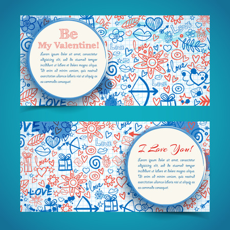 Lovely horizontal banners with white circles text ink stains sketch icons on paper sheet. Isolated vector illustration. Illustration