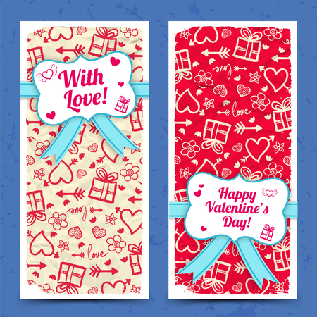 Greeting vertical banners with ribbon bow sticker on crumpled paper sketch icons background. Isolated vector illustration.