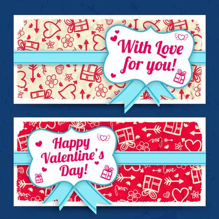 De romantische amoureuze horizontale banners met lint buigen sticker op de verfrommelde document achtergrond van schetspictogrammen geïsoleerde vectorillustratie Stock Illustratie
