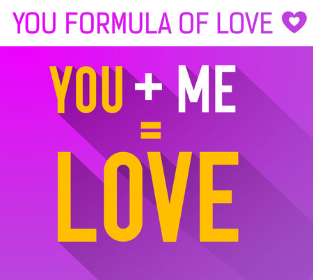 Lovely flat template with words, romantic formula and long shadows vector illustration