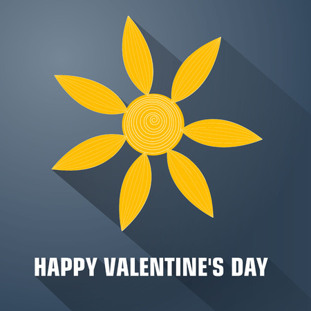 Romantic card design, flat template with orange flower and long shadows vector illustration