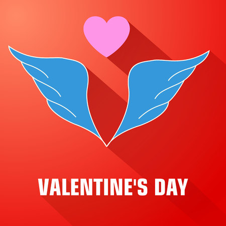 Light flat romantic template with blue wings pink heart and long shadows on red background vector illustration
