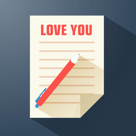 Amorous flat template with love confession on paper sheet pen long shadows on dark background vector illustration