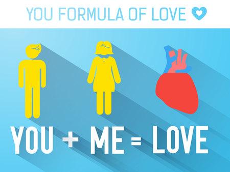 Valentinstag-flache Schablone mit Paaren in der romantischen Formel des Liebeswortherzens auf blauer Hintergrundvektorillustration